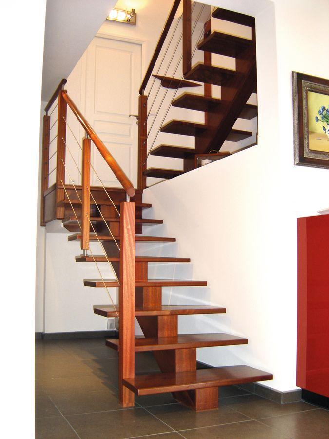 Escalier droit limon central stunning escalier central for Achat escalier bois